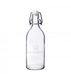 Aquapeak zuiver water beugelfles geëtst glas inhoud 1 liter